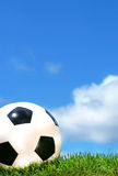 Closeup of a soccerball royalty free stock photo