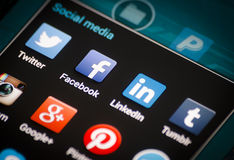 Closeup of social media icons on android smartphone screen. Stock Image