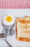 Closeup soft boiled egg with sliced toast Stock Photo