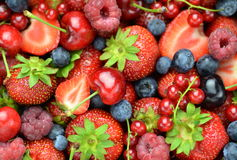 Closeup of soft fruits, strawberries, raspberries, cherries, blueberries, currants. Closeup  of soft fruits, strawberries, raspberries, cherries, blueberries Royalty Free Stock Images