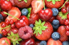Closeup of soft fruits, strawberries, raspberries, Stock Photo