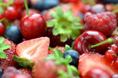 Closeup of soft fruits, strawberries, raspberries, Royalty Free Stock Photography