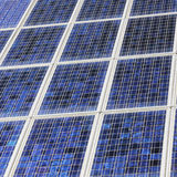 Closeup of solar panels close together Stock Image