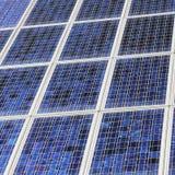 Closeup of solar panels close together Stock Image