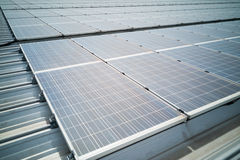 Closeup on solar panels on roof generate electricity Royalty Free Stock Photo