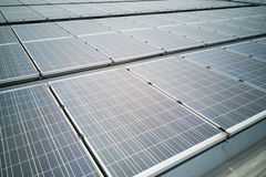 Closeup on solar panels on roof generate electricity Stock Images