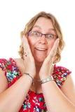 closeup som ser den förvånada kvinnan arkivbild
