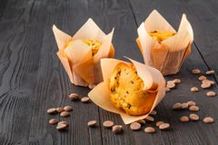 Closeup of some appetizing plain muffins for breakfast stock images