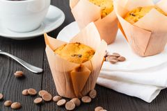 Closeup of some appetizing plain muffins for breakfast royalty free stock photography