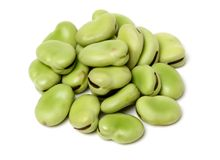 Closeup of some broad bean pods with the beans inside. Isolated on a white background stock images