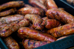 The closeup of some meat skewers being grilled in a barbecue. grilled meat skewers, barbecue Stock Photos