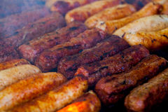 The closeup of some meat skewers being grilled in a barbecue. grilled meat skewers, barbecue Stock Images