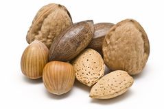 Closeup from some nuts. Some different nuts isolated on a white background Stock Image