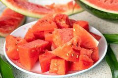 A half of fresh watermelon on a table royalty free stock photography