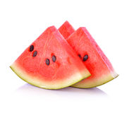 Closeup of some pieces of refreshing watermelon on a white backg Royalty Free Stock Images