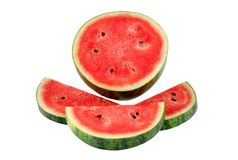 A half of fresh watermelon isolated on white background.,save wi stock photography