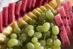 Closeup of some pieces of watermelon,. Grapes and melon fresh stock photos