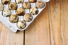 Closeup of some quail eggs. Selective focus, easter copy space background stock photo