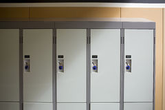 Closeup of some school lockers Royalty Free Stock Photos