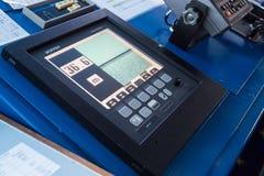 Closeup of sonar instrument equipment in ocean ship vessel. Scanning sea depth stock photos