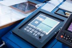 Closeup of sonar instrument equipment in ocean ship vessel. Scanning sea depth stock photo