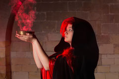 Closeup of a sorceress. Closeup of a beautiful sorceress in gothic style royalty free stock image