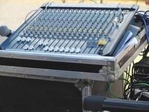 Closeup of the sound mixer control console Stock Photos