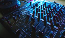 Sound mixer volume buttons. Closeup of sound mixer volume buttons Stock Images