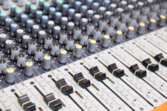 Closeup sound mixing control board Stock Photos