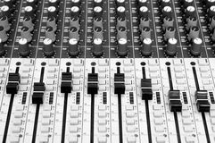 Closeup sound mixing control board Stock Photography