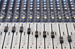Closeup sound mixing control board Royalty Free Stock Image