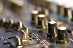 Closeup of Sound Module. With buttons,knobs, and sliders Royalty Free Stock Images