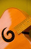 Closeup of soundboard and soundhole of a guitar Royalty Free Stock Photos