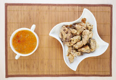 Closeup soup, stew chicken napkins Stock Images