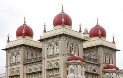 Closeup of southern towers & beautiful domes of Mysore palace Royalty Free Stock Images