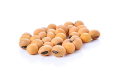 Closeup of soy beans on white background stock images
