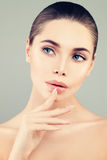 Closeup Spa Portrait of Healthy Model Woman with Fresh Skin. Spa Beauty, Facial Treatment and Cosmetology Concept Stock Photography