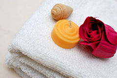 Closeup of spa and wellness objects. Closeup of skin and body care objects used in spa and wellness treatments. For spa and hygiene, healthcare and relaxation Stock Photo