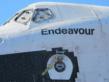 Closeup of Space Shuttle Endeavour. The fuselage and escape hatch on the space shuttle Endeavour, during its retirement parade in Los Angeles Royalty Free Stock Photo