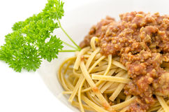 Closeup of spaghetti bolognese Royalty Free Stock Images