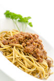 Closeup of spaghetti bolognese Royalty Free Stock Photography