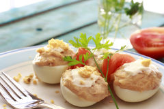 Closeup of Spanish deviled eggs Stock Photo