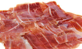 Closeup of spanish jabugo ham slices. Serrano ham Stock Image