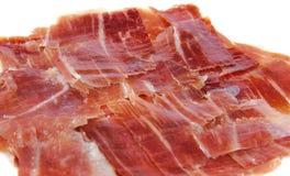 Closeup of spanish jabugo ham slices. Serrano ham Stock Image