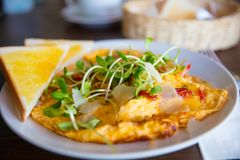 Spanish Omelette Served On Table In Restaurant Stock Photo