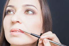 Closeup specialist in beauty salon gets lipstick, lip gloss, make-up. Royalty Free Stock Image