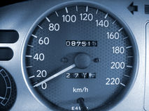 Closeup of a speedometer royalty free stock photos