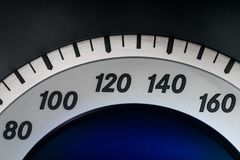 Closeup of the speedometer from the interior of a modern car Stock Image