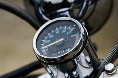 Vintage speedometer and gasoline level indicator on an expensive scooter royalty free stock photography