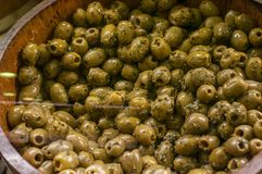 Spiced olives at the market Royalty Free Stock Image
